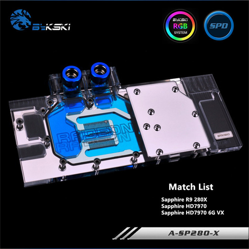 Bykski Full Coverage GPU Water Block For Sapphire R9 280X HD7970 6G VXOC Graphics Card A-SP280-X цена