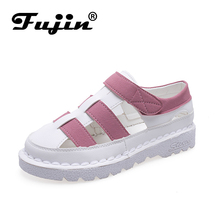 Fujin Flat Shoes Women 2019 New  Fashion Flats for Ladies Sweet Style Summer Hollow Students 3 Color Vacation