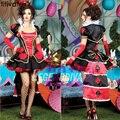 ENFEITAR Alice No País Das Maravilhas Halloween Costume Rainha Dos Corações Cosplay Vestido Elegante Vermelho de Poker do Cartão de Jogo Do Jogo do Vestido Extravagante