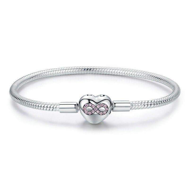 Bracelet coeur infini en argent Sterling 925 en forme de coeur amour serpent Bracelet Bracelets 3mm pour bricolage bijoux fins SCB142
