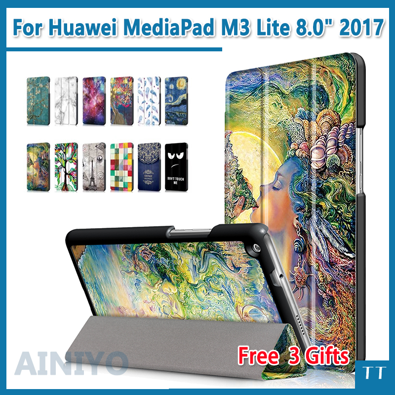 Case for Huawei MediaPad M3 Lite 8.0 Tablet Magnet Stand Smart PU Leather protective cover for huawei M3 Lite 8.0 +Free 3 gifts crystal protective case for nds lite