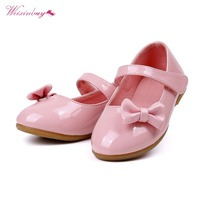 WEIXINBUY Children Princess Leather Shoes PU Casual Baby Flower Pink Girls Fashion Brand Shoes 4 Colors