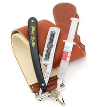 Gold Dollar 66 Straight Shaving Razor Cut Throat + Leather Canvas Sharpening Strop Belt + 10000# Polishing Paste Sharpener Kit