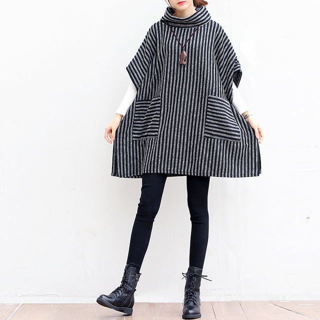 P Ammy Lagenlook Batwing sleeve Big pocket Striped knitted Sweater Poncho  Lady Turtleneck Fall Winter Loose knitted cotton Tops 2