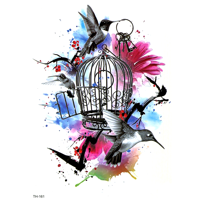 Birds Escaped From The Cage  Waterproof Temporary Tattoo Sticker Flowers Tatoo Men Tatouage Temporaire Henna Tattoos