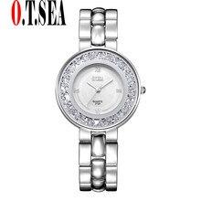 New O T SEA Brand Silver Bracelet Watches Women Ladies Rhinestone Dress Quartz Wristwatches Relogios Feminino