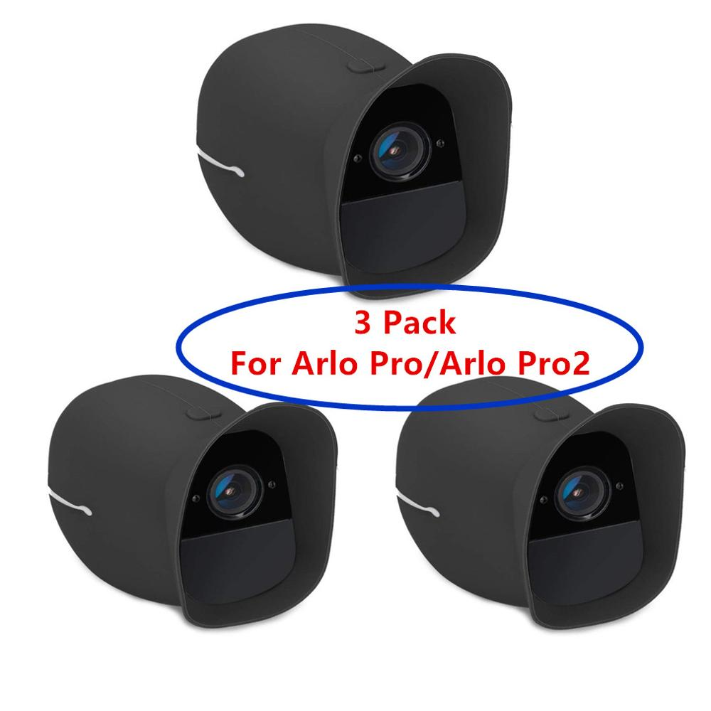 3 Pack Cover Skins for Arlo Pro and Arlo Pro 2 Wireless Smart Security Camera,Water and UV Resistant,Perfect Fitting(Black_