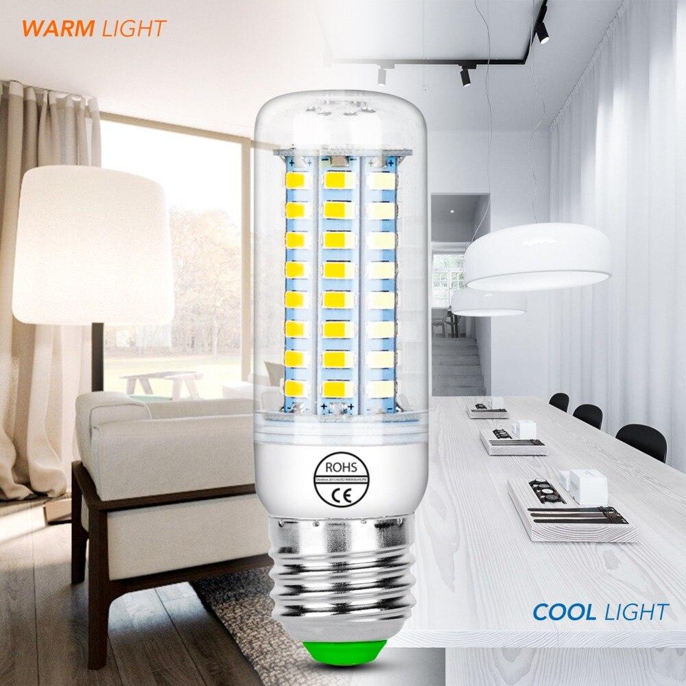 Купить с кэшбэком E27 LED 220V Light Corn Bulb E14 Led Lamp 5730 SMD GU10 Bombillas Led Candle Light Bulbs 24 36 48 56 69 72leds Lampada for Home