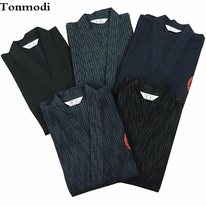 Pajamas for men 100% cotton kimono woven cotton cloth bathrobe kimono Men lounge sleepwear Pajamas Set kimono