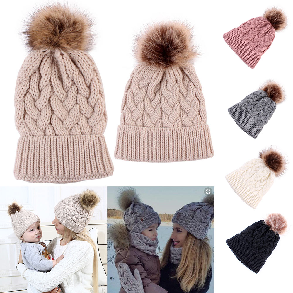 5Colors Mom and Baby Hat with Pompom Warm Raccoon Fur Bobble   Beanie   Kids Cotton Knitted Boy Girls Hat Winter Caps Xmas Gift