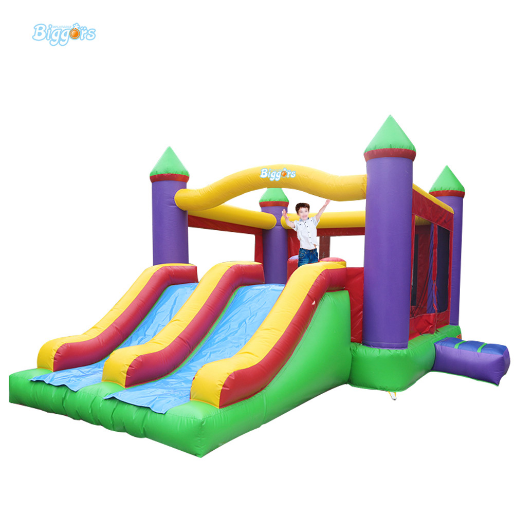Hot Selling Inflatable Trampoline Castle Outdoor Commercial Bouncy Castles With Slide double slides commercial inflatable bouncer bounce house