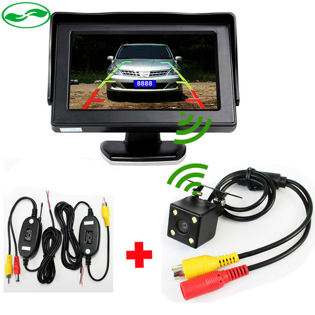 Free Shipping Auto Parking Assistance Camera Monitor Wireless 4.3 LCD Car Monitor With with Rear View Camera