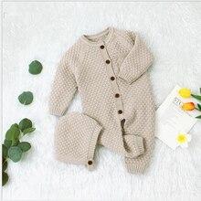תינוקת Romper סרוג יילוד תינוק בגדי Romper עם כובע תינוקות פעוט סרבל לילדים כותנה פעוט בני סרבל