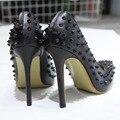 Curto Na Promoção Tamanho 11 cm Salto Alto Mulheres Bombas Studded Pico Salto Alto Stiletto Toe Ponto Sexy da Festa de Casamento sapatos