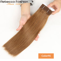 Rebecca Remy Silky Straight Hair Color#6 and Color#27 Peruvian Human Hair Bundles High Quality Remy Extensions 113G Per Bundle