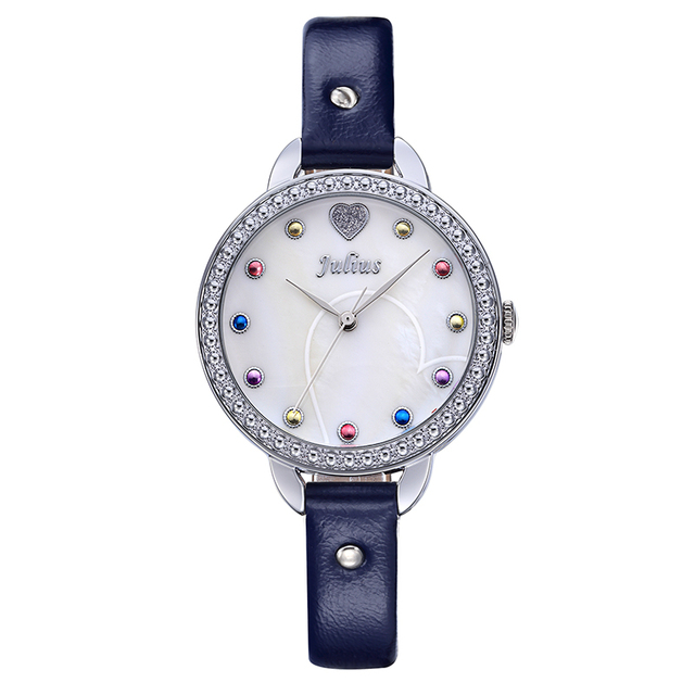 Julius Lady Women's Watch Japan Quartz Girl's Hours Fine Fashion Mother-of-pearl Dress Leather Bracelet Christmas Gift