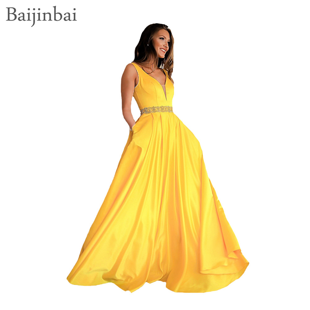 Baijinbai Elegant   Prom     Dresses   Yellow Illusion V Neckline Open Back Ball Gown Party   Dress   Vestidos De Festa Beaded Evening Gowns