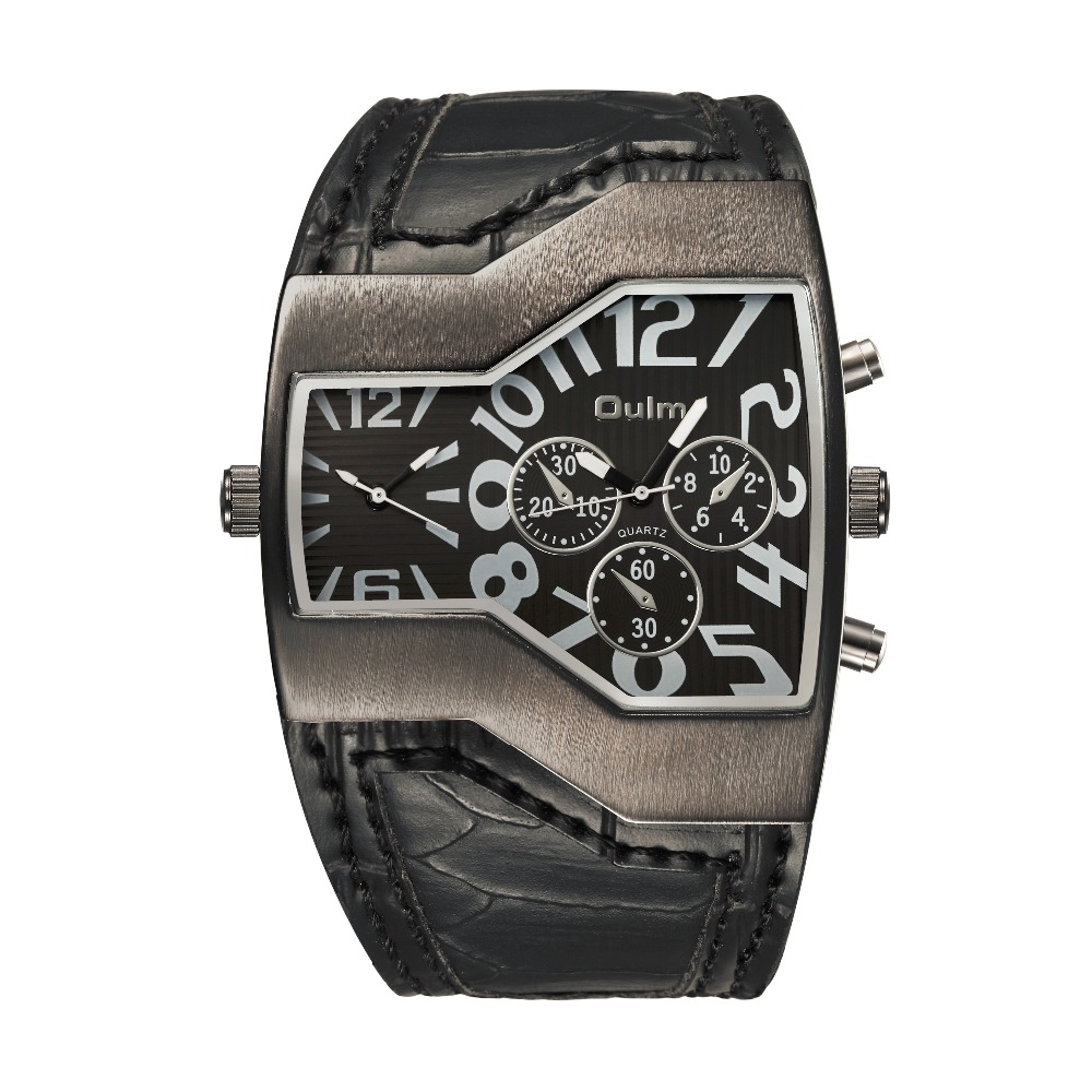 Big Face - double Wristwatch w/ Leather Strap 1