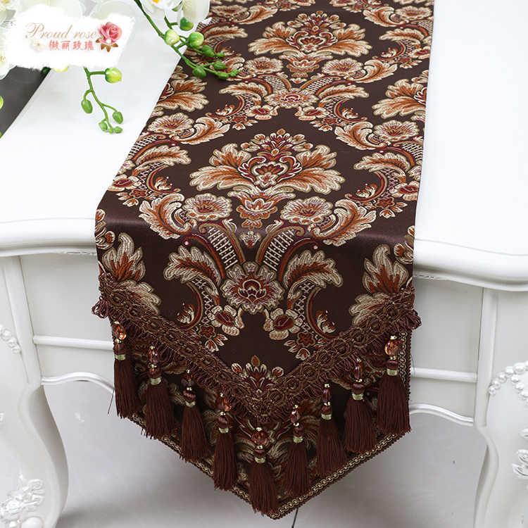 Гордостью роза Европейский стиль Настольная дорожка кисточкой настольный флаг мода для домашего обеденного стола дорожка украшение стола роскошное покрывало