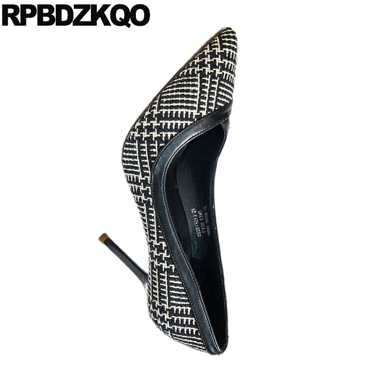 La Glissement Scarpin Femmes Luxe Bout Elegant White De Remise Haute Taille 4 34 Pompes Pointu Sur 2018 Plaid Multi Talons Designer black Mince Nouveau Sexy Mode cK31J5uTlF