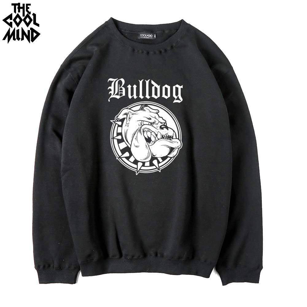 THE COOLMIND cotton blend fleece bulldog printed men Hoodies casual Thick warm o-neck men swearshirts