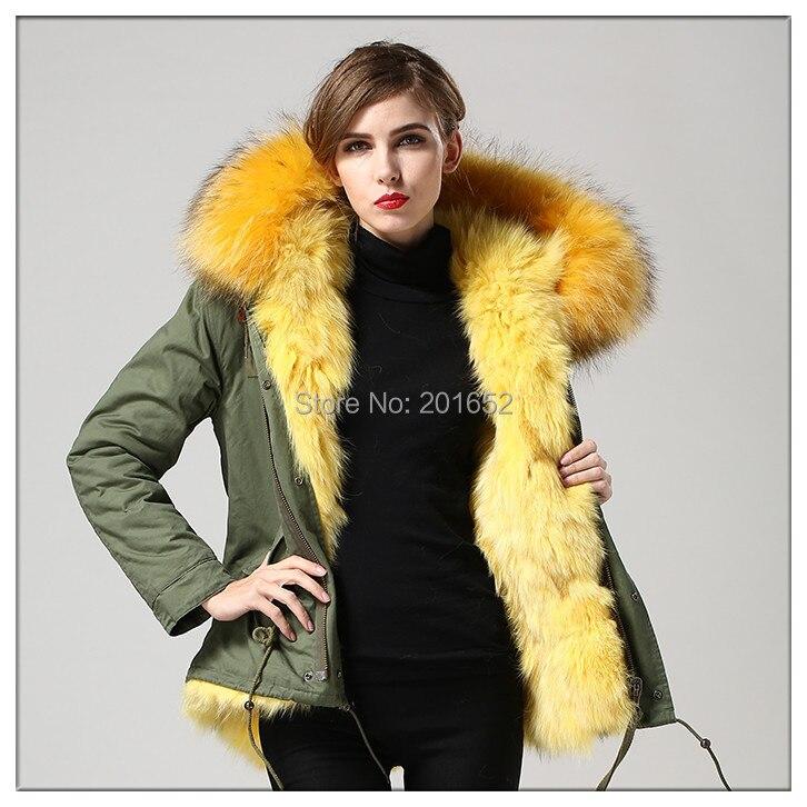 winter slim jacket yellow color natural fox fur coat army green real fur coats for women mr fur jacket
