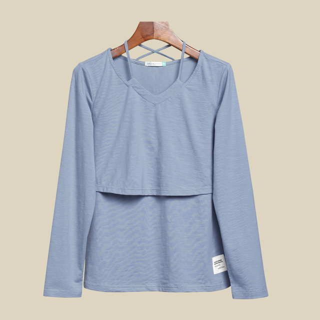 Casual Long Sleeve Maternity Tops for Nursing