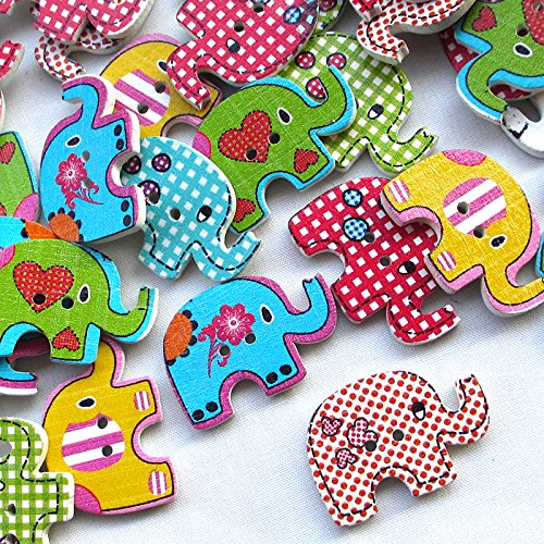 10 PCS ASSORTED WOODEN BUTTONS SEWING SCRAPBOOKING COLOURS FLOWER HEART ELEPHANT