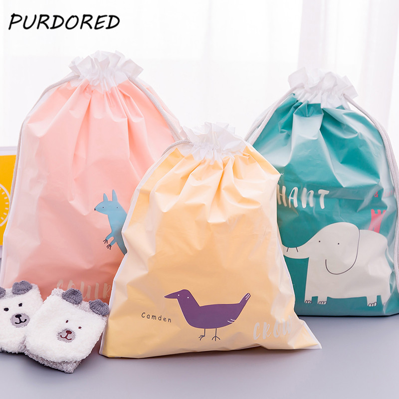 PURDORED 1 Pc Double Layers Solid Drawstring Bag Waterproof Cartoon Clothes Socks Shoes Travel Storage Package Organizer Bags