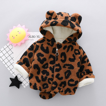 Winter Warm Baby Boys Girls Coats Jacket For Boys Warm Leopard Print Plus Velvet Thicken Clothing Cardigan Children Outerwear