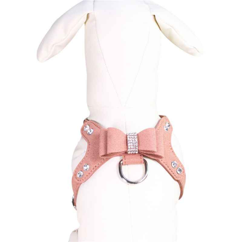New Bling Rhinestone Pet Puppy Dog Harness Velvet & Leather Leash for Small Dog Puppy Cat Harness Leash Dog Accessories Y