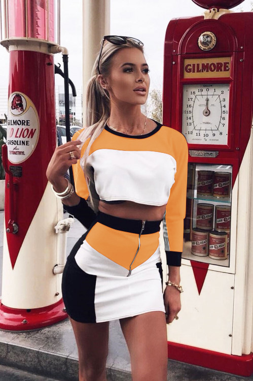 Color Block Patchwork Tracksuit Casual Long Sleeve O Neck Pullover Crop Top With Mini Skirt Women Set Suit Female Two Piece Set