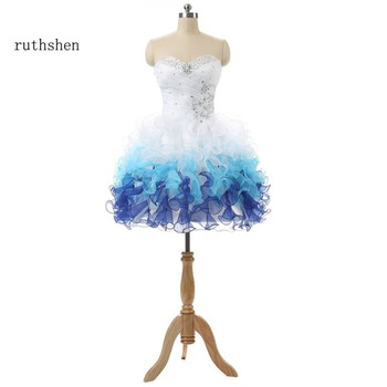 ruthshen Short White Homecoming Party Dress With Sweetheart Sequin Beaded Ruffles Cheap Mini 8th Grade Graduation Dresses - sale item Special Occasion Dresses
