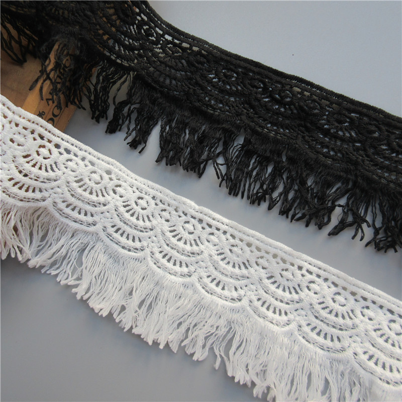 3Meter 8cm Cotton Crochet Tassel Fringe Lace Fabric Ribbon Trim Edge Embroidered Applique For Sewing Craft Wedding Dress Clothes