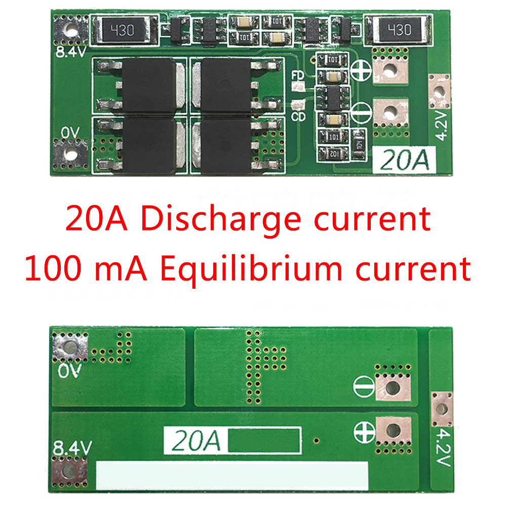 Best Selling <font><b>2S</b></font> <font><b>20A</b></font> 7.4V 8.4V 18650 Lithium battery protection board/<font><b>BMS</b></font> board standard/balance image