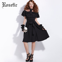 Rosetic New Item Perspective Mesh Off The Shoulder Dress Banding Bow Lace Up Elegant Women Dresses