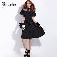 Rosetic New Item Perspective Mesh Off The Shoulder Dress Banding Bow Lace Up Elegant Women Dresses