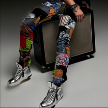 New fashion casual Hole patch jeans male beggar pants men singer stage trousers ds costume Nightclubs costumes pants tide brand