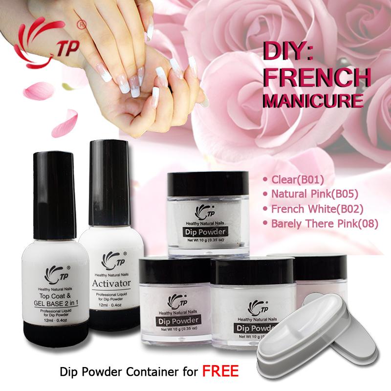 TP Nail Dipping Powder Nails Set French Manicure Kit 2 + 4 Powders Base & Top Gel Activator Dip Powder Nails Natural Dry 6pcs box dipping powder top base coat activator kit dip system no uv light needed fast dry dip powder nails starter kit