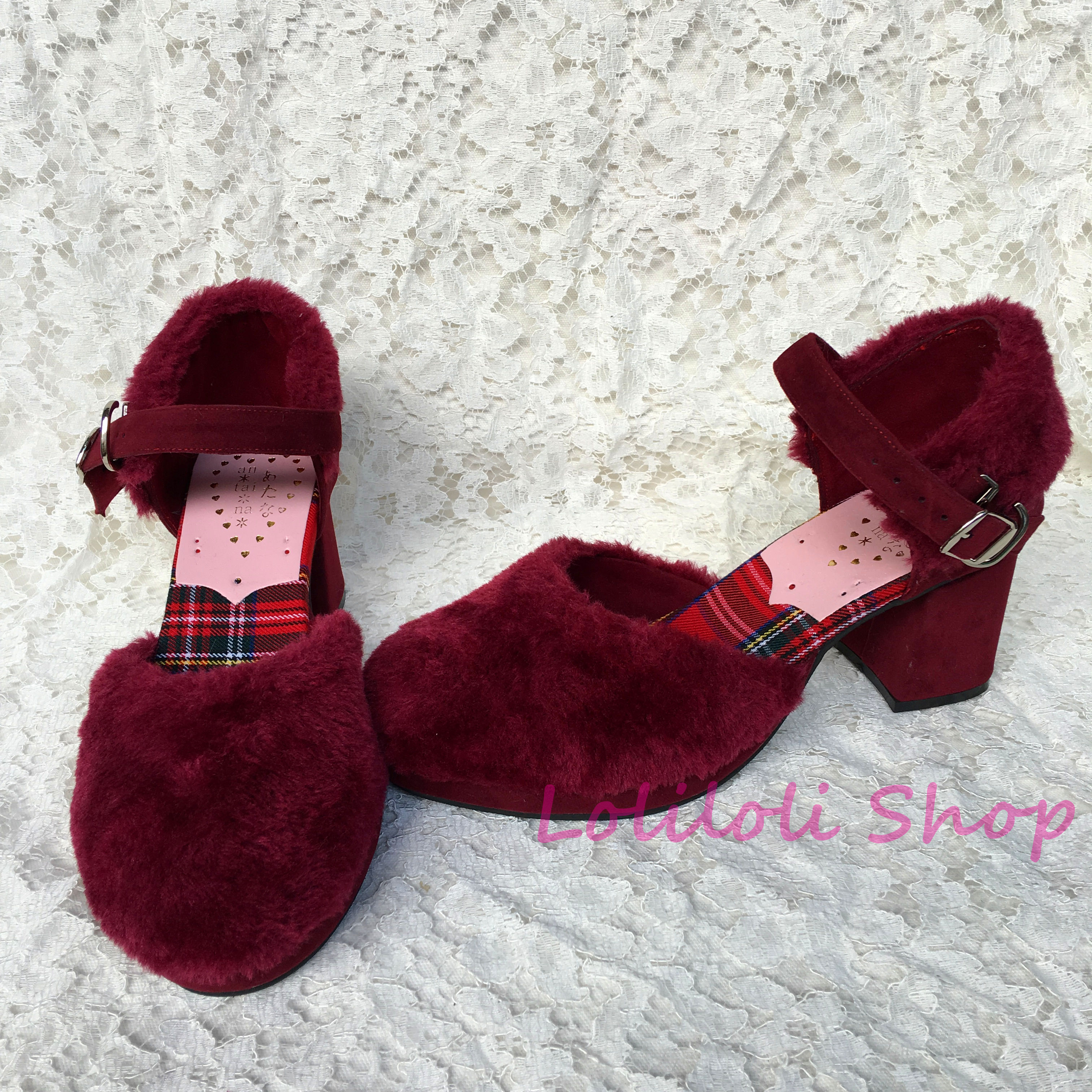 Princess sweet lolita shoes Lolilloliyoyo antaina Japanese design Lolita wine red plush drawstring rough heel custom 4175-1 цена