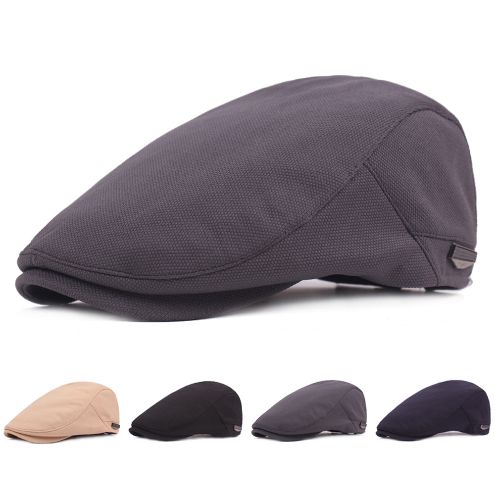 Men Classic Checks Plain Newsboy Cap Hat Elastic Adjustable Ivy Flat Gatsby Cap CSHAT0533