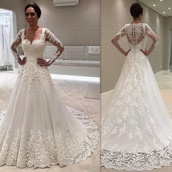 Appliques Vestido De Noiva Gorgeous Square Neck Wedding Dresses 2020 Long Sleeves Lace Wedding Bridal Gowns