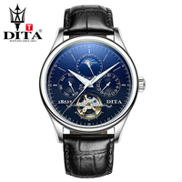 Dita Скелет Мужские часы Роскошные автоматические механические часы Спорт Moon Phase черный коричневый кожаный ремень часы Rosegold