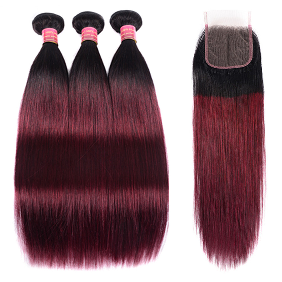 Ombre Bundles With Closure 1B/ Burgundy 99J Two Tone Remy Human Hair Brazilian Straight Hair 3 Bundles Pack With Closure BOL