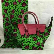 2017 moda nuevo diseño de áfrica mujer hnadbag bolso estilo nigeriano y impreso tela de la cera 6 yardas set para el vestido de fiesta tx-520