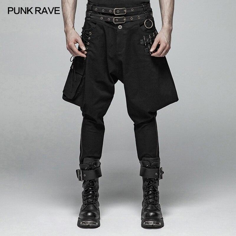 PUNK RAVE Men's Steampunk Bullet Breeches Fashion With Belt Big Pocket Zipper Hiphop Fashion Men Pants