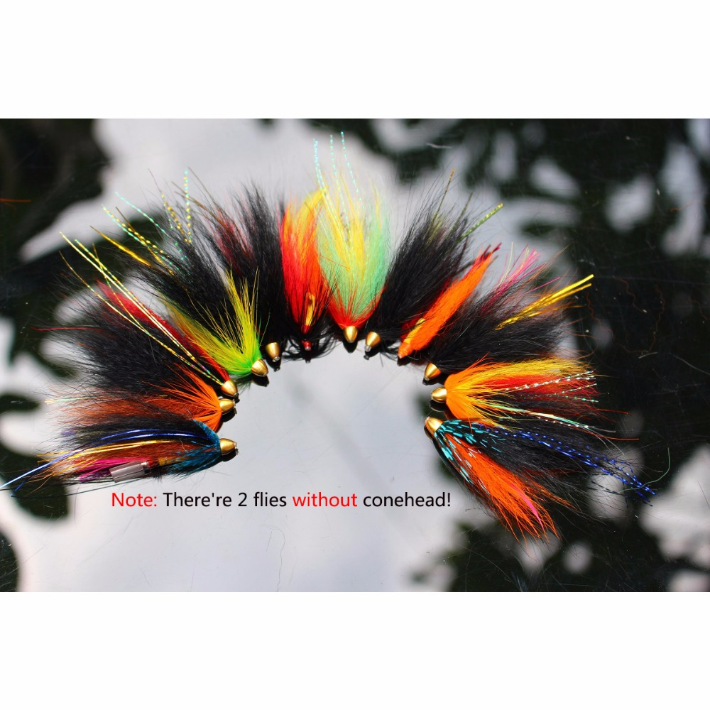 Tigofly 12 pcs/lot Assorted Tube Fly Set For Salmon Trout Steelhead Fly Fishing Flies Lures Set salmon