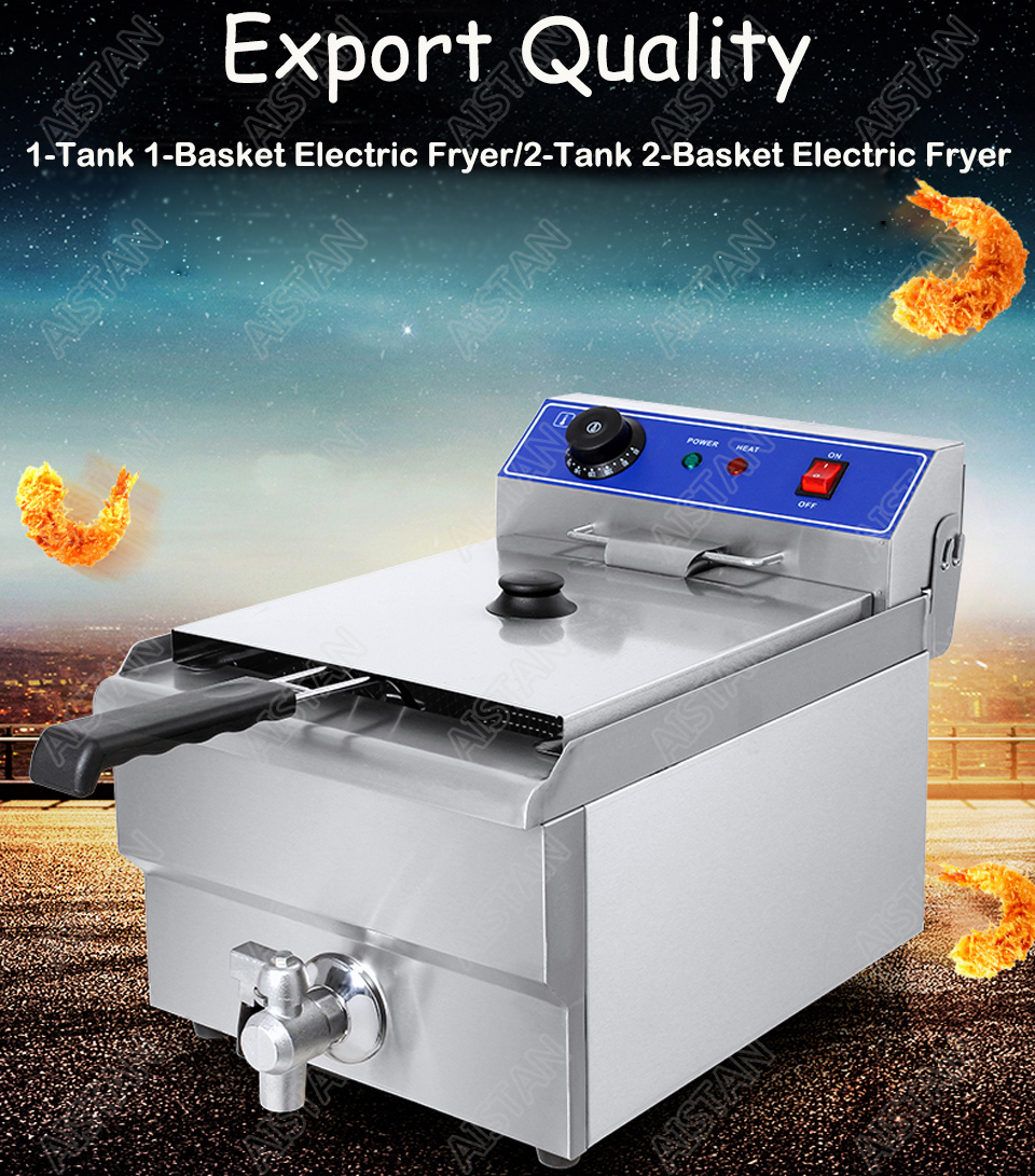 EF101V stainless steel electric deep fryer fried chicken fried potato chips for kitchen appliance 5
