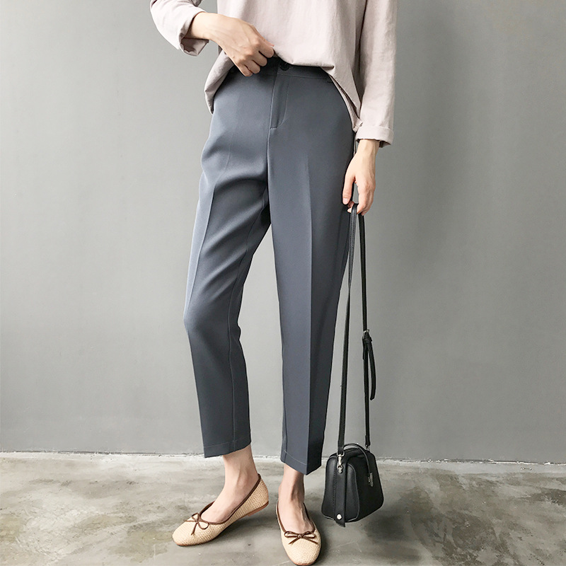 2018 New Fall Women Work Business Pants Gray Korean Style Solid Slim Ankle Length Pant Female Casual Pleated Straight Trouser