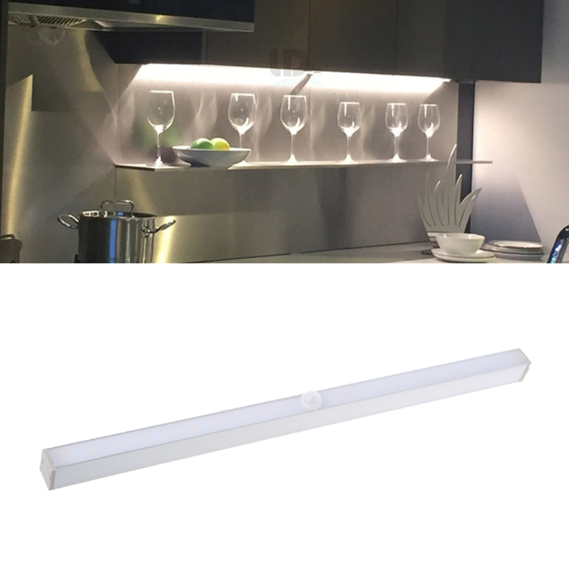 20LED Wireless Battery Powered PIR Motion Sensor Night Light Bar Stairs Wall Wardrobe